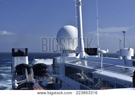 antennas and communication equipment on a cruis ship