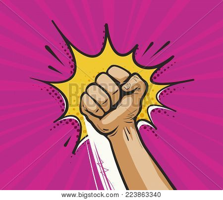Punch, raised up clenched fist in retro pop art. Comic style vector