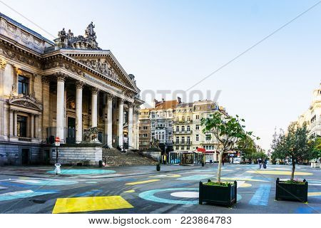 BRUSSELS, BELGIUM - August 27, 2017: Brussels Stock Exchange in Belgium.