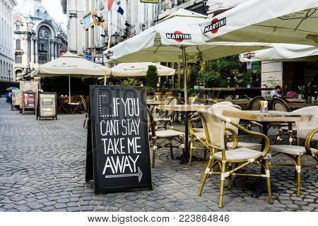 BUCHAREST, ROMANIA - August 28, 2017: Traditional, restaurant coffee in Old Town Bucharest, Romanian
