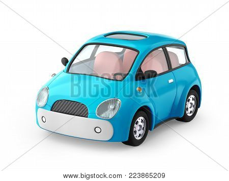 Small cute blue car isolated on white. 3d illustration