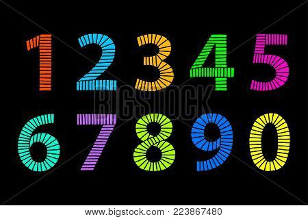 Multi colored hand drawn numbers made of lines in even distances. From one to zero in coordinated bright colors. Illustration. Isolated on black background. Vector.