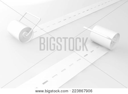 Road rollers opposite directions white on surface, 3d illustration, horizontal