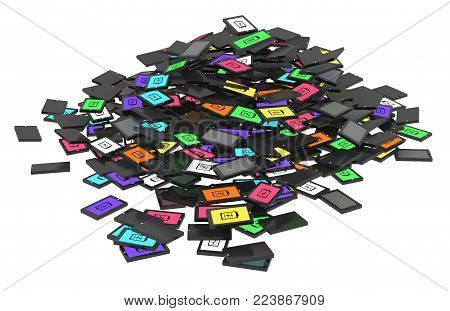 Smart phones discarded cartoon pile, 3d illustration, horizontal, over white, isolated