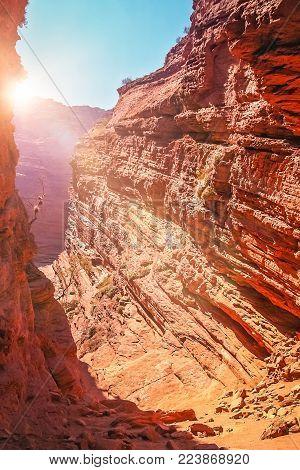 Sun shining into the Garganta del Diablo cave in a Quebrada de Cafayate valley in Salta province, northern Argentina