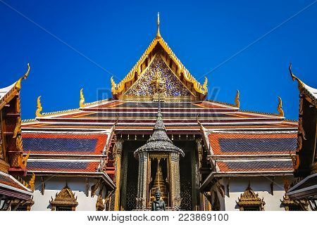 Buddhist Temple inside the Grand Palace complex in Bangkok, former residence of Thai King and royalty, Thailand, Asia