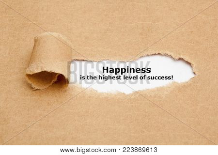 Happiness Is The Highest Level Of Success appearing behind torn paper.