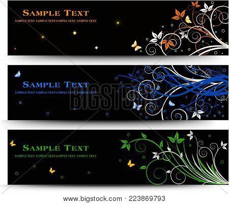 Set of banner design with floral elements vector