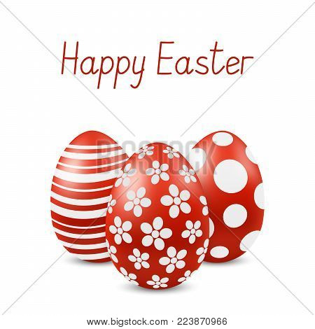 Vector Happy Easter greeting card with eggs. Text 'Happy Easter'. Self-made font. Three red-white painted easter eggs. 3D illustration