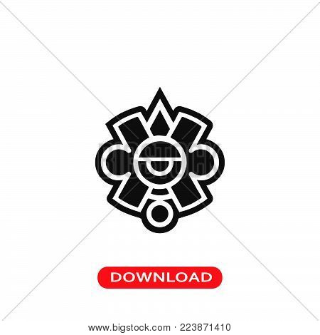 Mayan symbol icon vector in modern flat style for web, graphic and mobile design. Mayan symbol icon vector isolated on white background. Mayan symbol icon vector illustration, editable stroke and EPS10. Mayan symbol icon vector simple symbol for app, logo