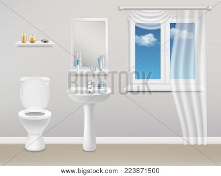 Vector realistic illustration of bathroom interior with white plastic closed window with white curtain, washbasin, toilet, mirror and toiletries.