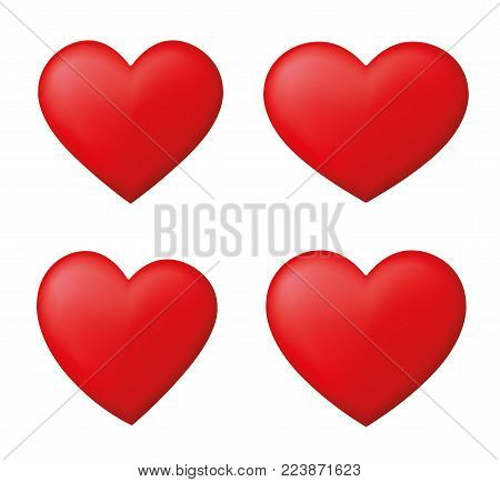 Perfect realistic set red hearts - stock vector.