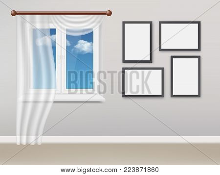 Vector realistic illustration of living room interior with white plastic closed window with white curtains and light blue sky with white clouds outside the window.