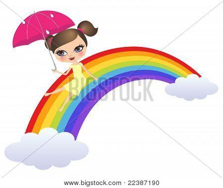 Girl sliding rainbow