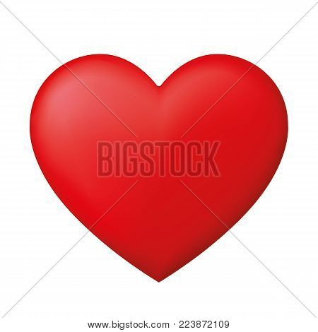 Perfect realistic red heart - stock vector.