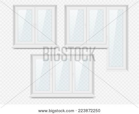 Vector set of realistic white plastic closed windows. Realistic illustration isolated on transparent background.