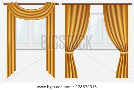 Vector set of white plastic windows with golden curtains. Realistic illustration isolated on transparent background.