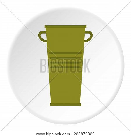Green garbage tank with handles icon in flat circle isolated vector illustration for web