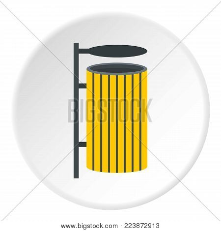 Yellow litter waste bin icon in flat circle isolated vector illustration for web