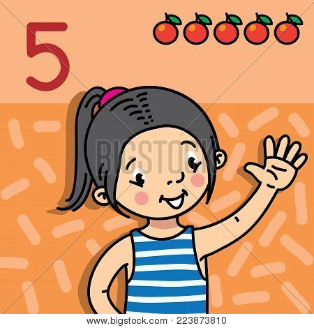 Card 5. Asian girl in striped vest on orange background. Kid's hand showing the number five hand sign. Childrens vector illustration for counting education cards from 1 to 10.