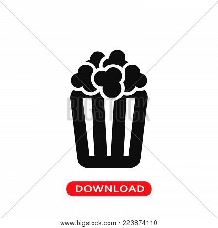 Box of popcorn icon vector in modern flat style for web, graphic and mobile design. Box of popcorn icon vector isolated on white background. Box of popcorn icon vector illustration, editable stroke and EPS10. Box of popcorn icon vector simple symbol for a