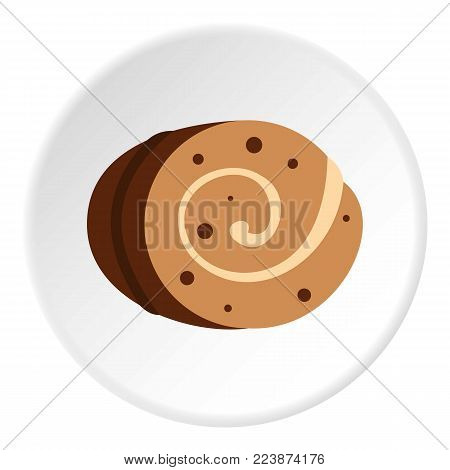 Sweet, creamy roll icon in flat circle isolated vector illustration for web