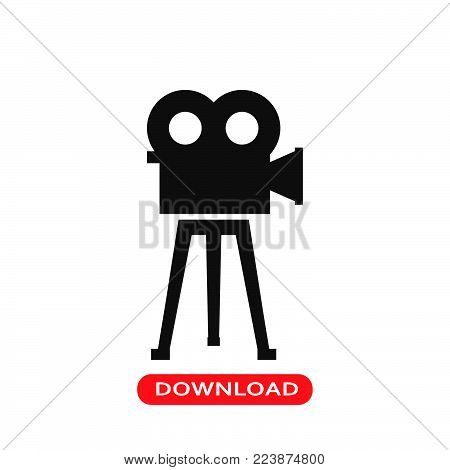 Vintage film camera icon vector in modern flat style for web, graphic and mobile design. Vintage film camera icon vector isolated on white background. Vintage film camera icon vector illustration, editable stroke and EPS10. Vintage film camera icon vector