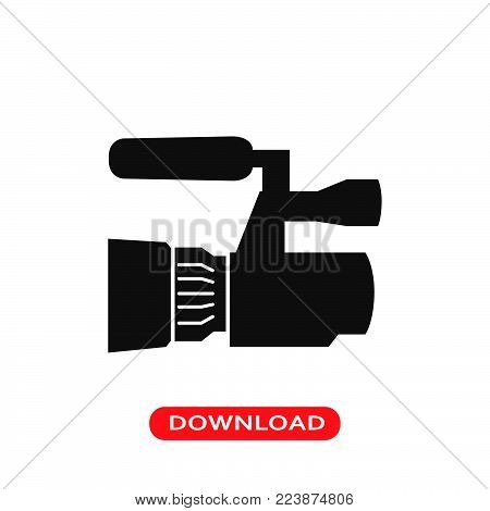 Camera of reporter icon vector in modern flat style for web, graphic and mobile design. Camera of reporter icon vector isolated on white background. Camera of reporter icon vector illustration, editable stroke and EPS10. Camera of reporter icon vector sim
