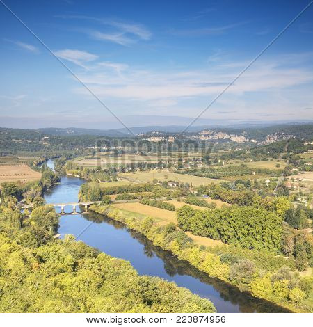 The famous view of the River Dordogne from the bastide of Domme, Aquitaine, France, as summer turns to autumn.