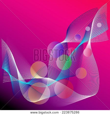 Background abstract lines and bolls in color tones
