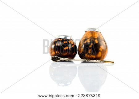 Calabash gourd and bombilla. Isolated on white background.