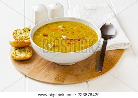 Lentil Bacon Soup - spicy soup with lentils, bacon and chillies, served with garlic toast.