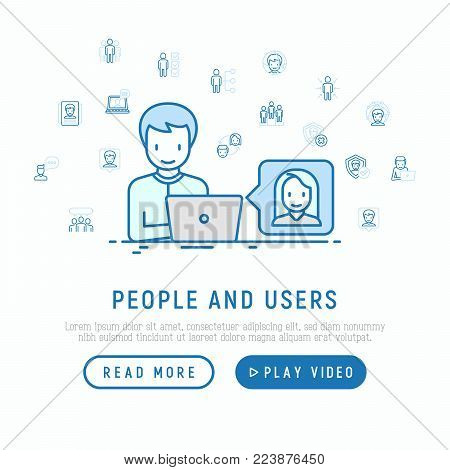 People and users concept: man using his laptop for video call with thin line icons: management; communication; human resources; teamwork; candidate. Modern vector illustration; web page template.