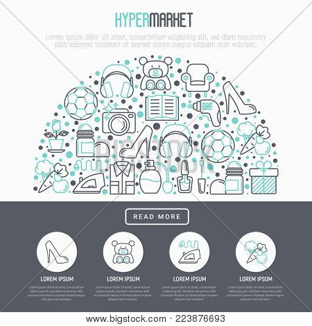 Hypermarket concept in half circle with thin line icons: apparel, sport equipment, electronics, perfumery, cosmetics, toys, food, appliances. Modern vector illustration for print media.