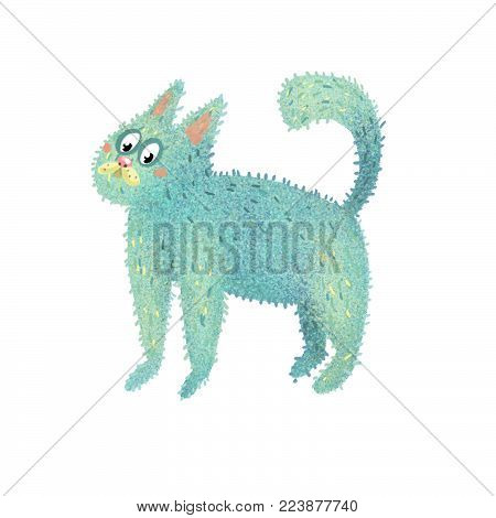 blue cat is a funny fuzzy sea sticker