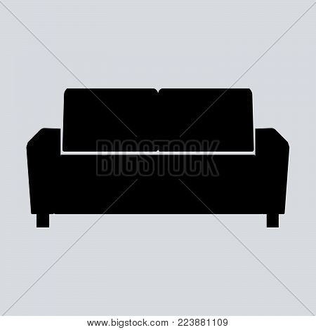 Sofa  illustration isolated on gray background. Soft sofa icon. Old style sofa icon. Divan sofa  icon.