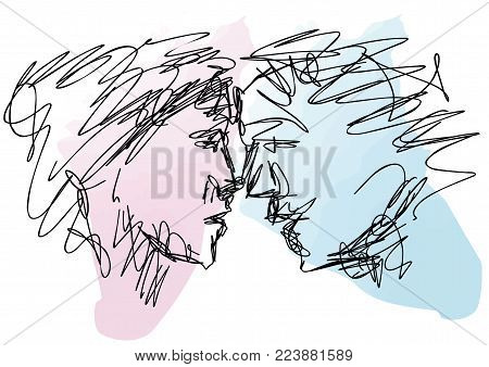 Sketch Of Couple Faces