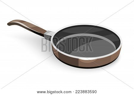 Frying pan for pancakes or eggs fry-up and cooking food, isolated white background. Eps10 vector illustration.