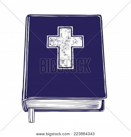 Bible, gospel, the doctrine of Christianity, symbol of Christianity hand drawn vector illustration sketch.