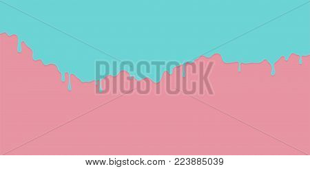 Blue paint dripping on the pink wall. Water spill vector background with copy space