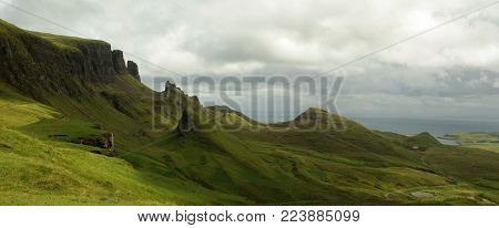 Scenic panorama of a hill on the Isle of Skye