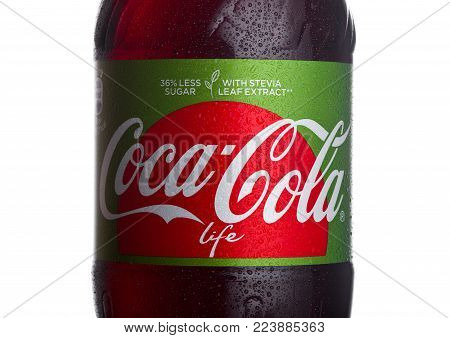 LONDON, UK - JANUARY 24, 2018: Bottle label of Life Coca-Cola on white Background. Coca-Cola is one of the most popular soda products in the world.