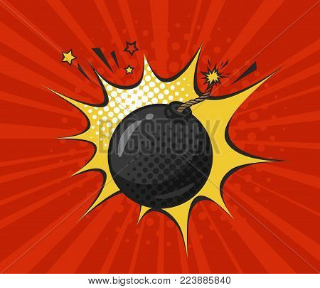 Round bomb with burning fuse, drawn in retro pop art style. Cartoon comic vector