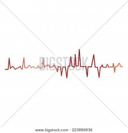 Heartbeat line ecg vector illustration. Heart pulse, one line, cardiogram. Art design health medical heartbeat pulse. Abstract concept graphic element.