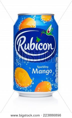 LONDON, UK - JANUARY 24, 2018: Aluminium Can of Rubicon sparkling soda drink with mango on white background