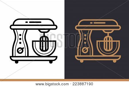 Linear icon ELECTRIC MIXER of bakery, cooking. Vector pictogram suitable for websites, presentation and print media