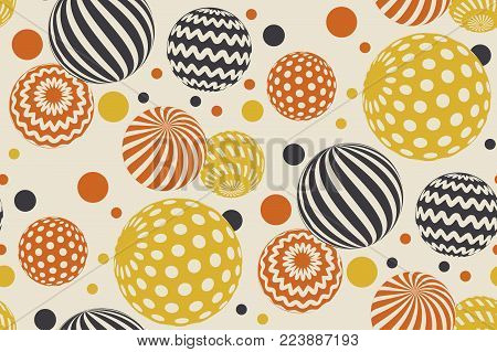 Geometric circle seamless pattern vector illustration in retro 60s style. Vintage 1970s ball geometry shapes abstract repeatable motif for carpet, wrapping paper, fabric, background. for invitation, header, poster, cover.