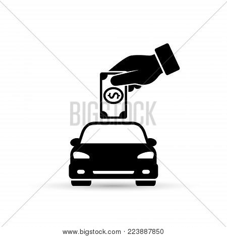 Hand putting money into the car, save money for car, invest money in car concept, Vector flat design.