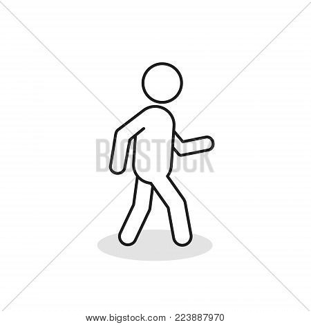 Pedestrian Outline Icon. Walking Man Vector Line Sign Silhouette Isolated On White Background.