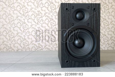 Speaker acoustic high-quality two-way bass reflex black